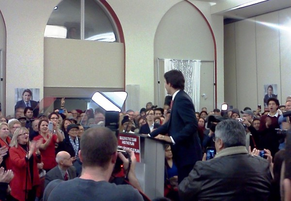 Justin Trudeau at a Winnipeg rally Feb 2015